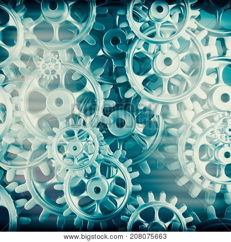 White gears and cogs macro on black background. 3D rendering
