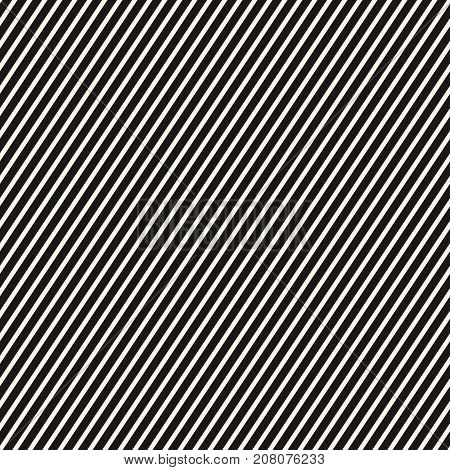 Diagonal stripes pattern. Vector seamless striped texture. Abstract monochrome geometric background with thin slanted lines black & white. Repeat design template for prints, decor, fabric, cloth, web. Striped background. Lines background.