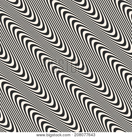 Diagonal curved wavy lines seamless pattern. Vector texture with black and white waves, stripes. Modern abstract monochrome background, motion effect. Repeat design for decor, prints, digital, web. Wavy lines background. Curved background.