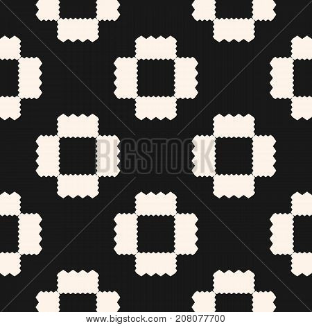 Vector geometric ornament pattern with jagged shapes, squares, repeat tiles. Ornamental ethnic motif. Abstract black & white background. Simple monochrome texture. Dark design for decor, fabric, cloth. Seamless background. Ornate background.