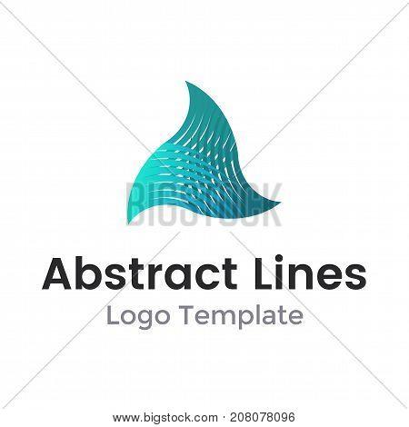 Logo design vector illustration. Twisted triangle from lines logo design. Vector illustration of urban triangular shape form for logo template or other design