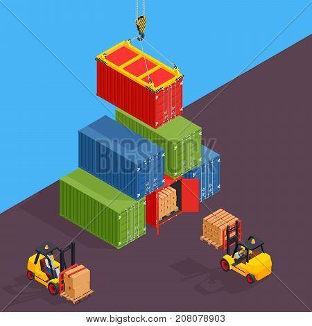 Marine cargo port. Unloading of sea cargo containers by a forklift. Closed containers and one outdoor.