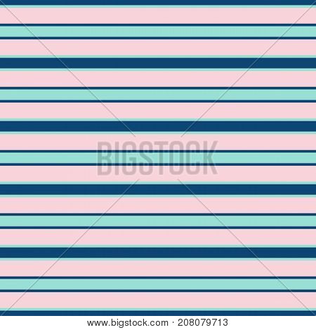 Horizontal stripes vector seamless pattern. Modern texture in trendy colors, rose pink, navy blue, mint green. Abstract striped background with thin parallel lines. Sytripes background. Lines background. Geometric background. Seamless background.