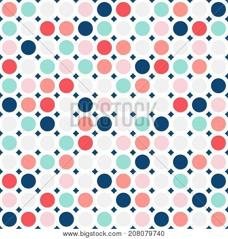 Colorful circles seamless pattern. Fashionable geometric background in trendy colors: soft pink, navy blue, mint coral, red, grey, white. Dots texture. Circles pattern. Design pattern. Geometric pattern. Baby pattern. Boys pattern. Girls pattern.