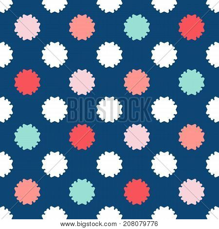 Colorful floral seamless pattern. Fashionable vintage geometric background in trendy colors: soft pink, navy blue, mint, coral, red, white. Simple funky texture. Vintage pattern. Geometric pattern. Baby pattern. Girls pattern. Boys pattern.