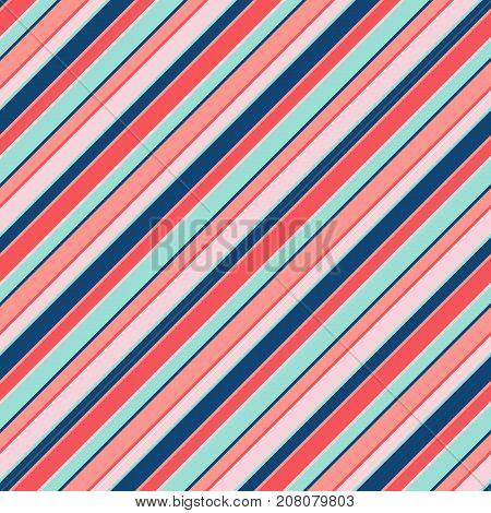 Colorful diagonal stripes background texture, slanted lines. Vibrant vector striped seamless pattern, trendy color combination. Design for card, banner, cover, textile. Stripes pattern. Lines pattern. Diagonal pattern. Girls pattern. Boys pattern.