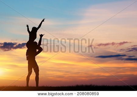 Couple having happy time together. Man carrying woman on his shoulders. Fun and freedom. 3d illustration.