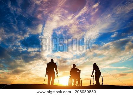 Three disabled people looking at the sunset. Idea of healing and hope. 3d illustration.