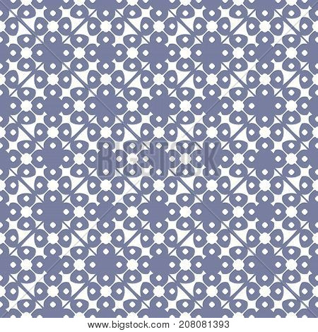 Vector geometric floral ornamental pattern. Abstract seamless texture. Blue serenity color. Elegant ornament background, rounded shapes, circles, lattice, repeat tiles. Design for prints. Ornament background. Floral background. Lattice background.