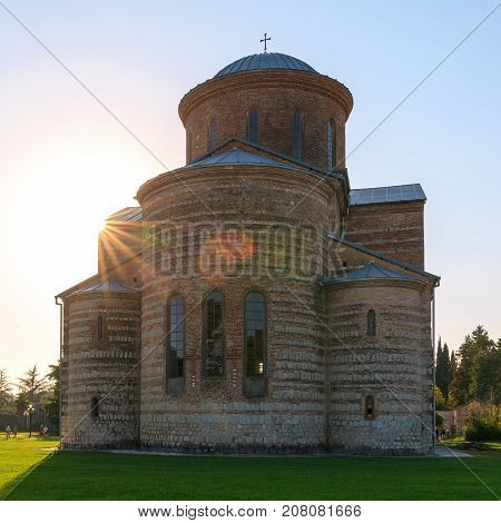 PITSUNDA ABKHAZIA SEPTEMBER 19 2017: Ancient Patriarchal Cathedral in honor of the Apostle Andrew in Pitsunda in the sunlight