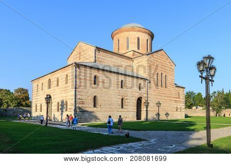 PITSUNDA ABKHAZIA SEPTEMBER 19 2017: Ancient Patriarchal Cathedral in honor of the Apostle Andrew in Pitsunda in warm summer day in the evening