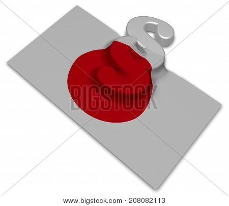 paragraph symbol and flag of japan - 3d rendering