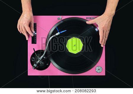 Pink Dj Turntable Playing Music. Touch Vinyl And Pich By Hand