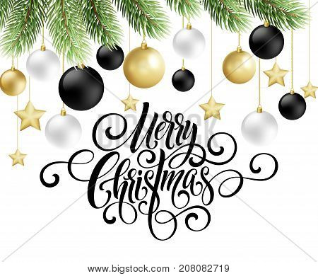 Merry Christmas handwriting script lettering. Greeting background with a Christmas tree and decorations. Vector illustration EPS10
