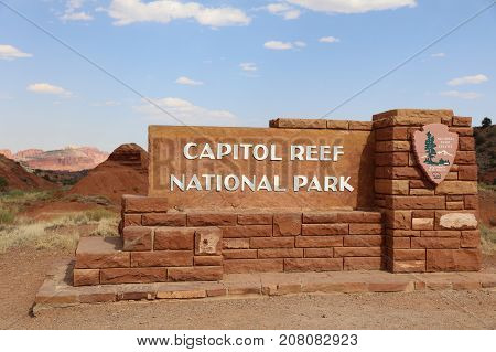 California, USA - July 03, 2017: Sign at the Entrance to Capitol Reef National Park in Utah. USA