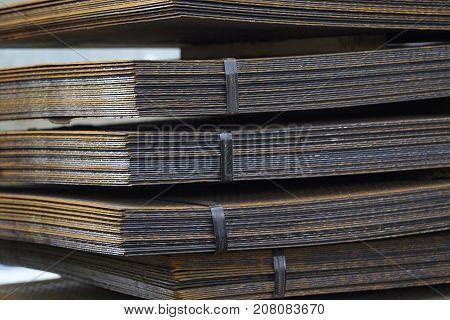 Sheet metal is in bundles in the warehouse Russia