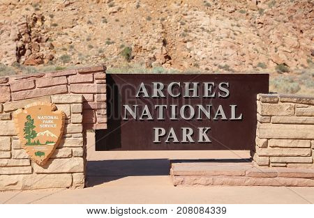 Utah, USA - July 04, 2017: Sign at the Entrance to Arches National Park in Utah. USA