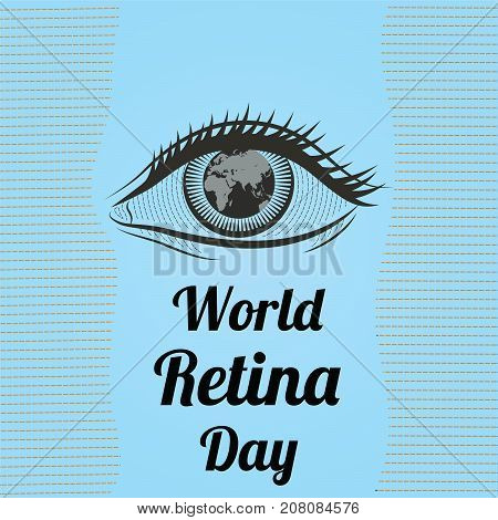 World Retina Day, September. Human eye conceptual illustration vector.