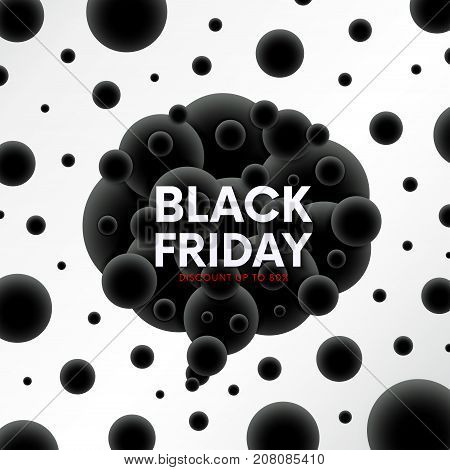 Black Friday Sale Discount Banner With Abstract Balls Backgroud. Futuristic Molecular Backdrop.