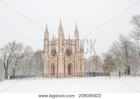 St. Alexander Nevsky Church In The Park Of Peterhof In The Winter.