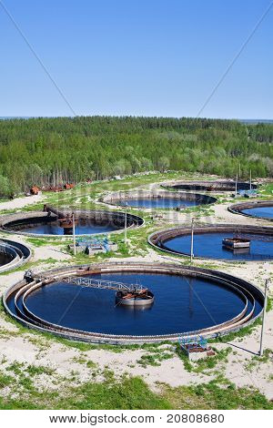 Water recycling and purification on sewage treatment station poster