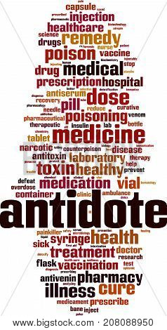 Antidote word cloud concept. Vector illustration on white