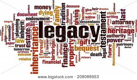Legacy word cloud concept. Vector illustration on white
