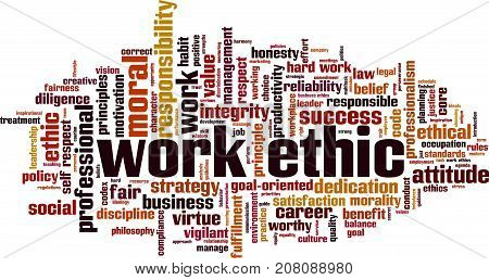 Work ethics word cloud concept. Vector illustration on white
