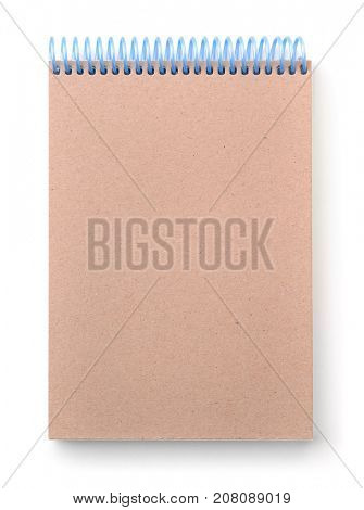 Front view of blank sketchbook cover isolated on white