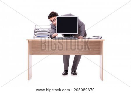 Businessman hiding in the office isolated on white