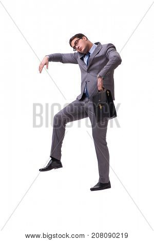 Puppet businessman isolated on white background