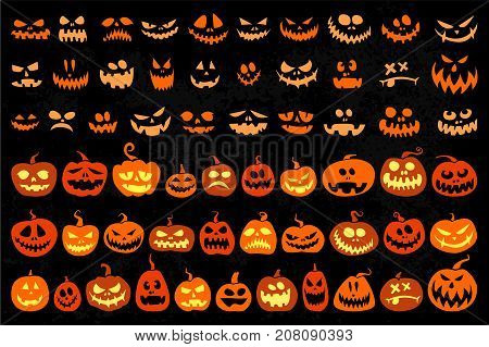 Jack o Lantern and evil faces vector set isolated on a black background. Cartoon characters pumpkin Lanterns for Halloween
