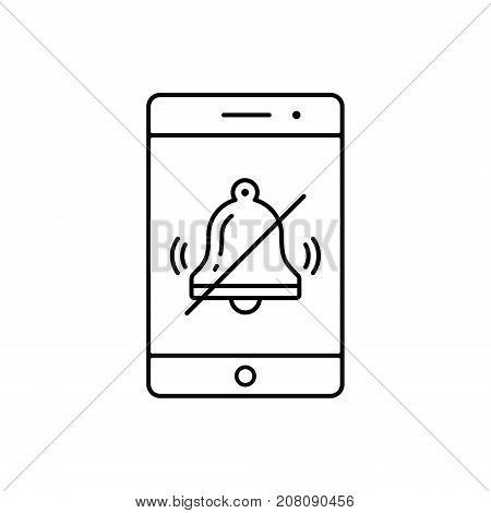Turn off phone ringer line icon. No bell on smartphone monitor. Soundless mode. Vector outline illustration.