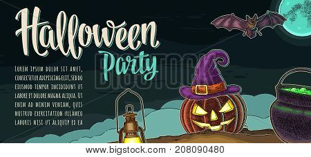 Horizontal poster with Halloween party calligraphy lettering. Bat, lamp, pumpkin scary face, witch hat with buckle, moon, fog, cauldron. Vector color vintage engraving illustration on dark background