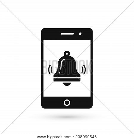Phone and bell notification icon. Vector smartphone call signal illustration.