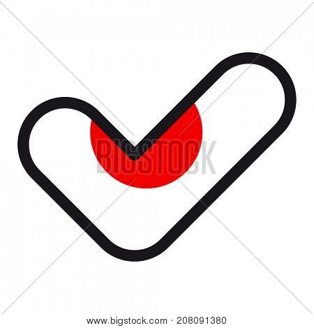 Flag of Japan in the shape of check mark, sign approval, symbol of elections, voting.