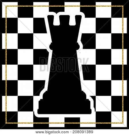 Chessboard with a chess piece Rook and a gold frame. Traditional Christmas holiday game.