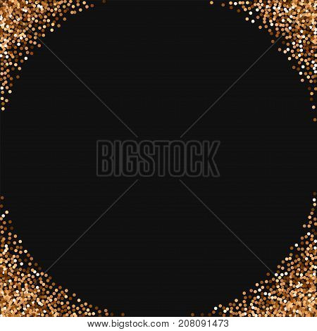 Red Round Gold Glitter. Corners With Red Round Gold Glitter On Black Background. Mesmeric Vector Ill