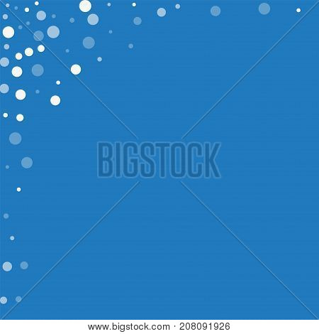 Falling White Dots. Abstract Left Top Corner With Falling White Dots On Blue Background. Vector Illu