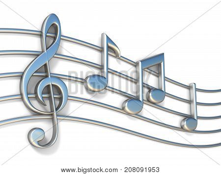 Music Notes On Staff Lines 3D
