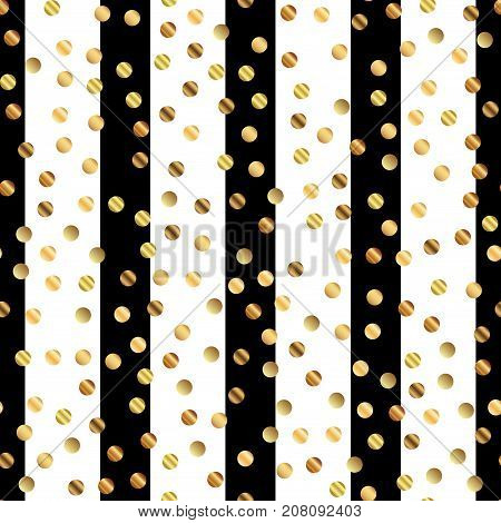 Golden Dots Seamless Pattern On Black And White Striped Background. Captivating Gradient Golden Dots