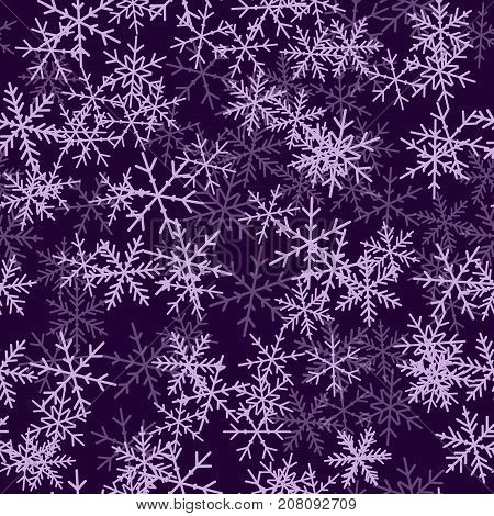 Violet Snowflakes Seamless Pattern On Purple Christmas Background. Chaotic Scattered Violet Snowflak