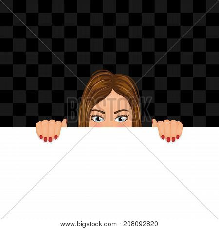 Young woman looking out of the blank with copy space. Girl hiding behind the banner. Vector illustration