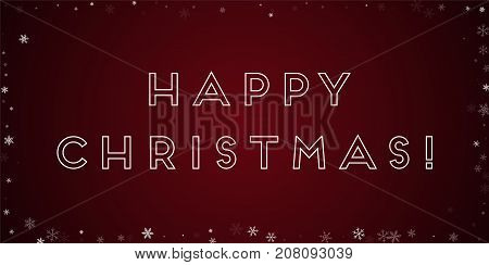Happy Christmas Greeting Card. Sparse Snowfall Background. Sparse Snowfall On Red Background. Marvel
