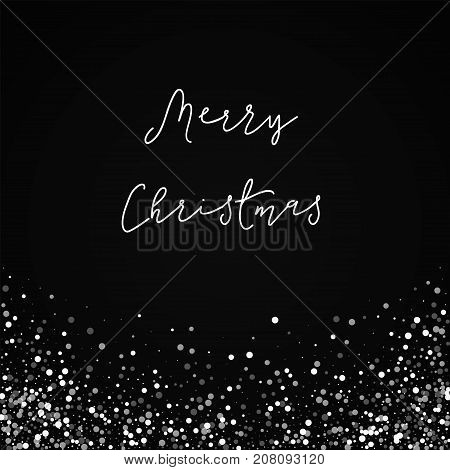Merry Christmas Greeting Card. Random Falling White Dots Background. Random Falling White Dots On Bl