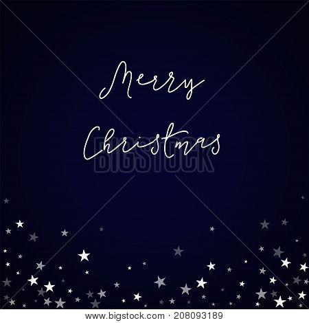 Merry Christmas Greeting Card. Random Falling Stars Background. Random Falling Stars On Deep Blue Ba