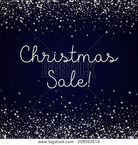 Christmas Sale Greeting Card. Amazing Falling Stars Background. Amazing Falling Stars On Deep Blue B