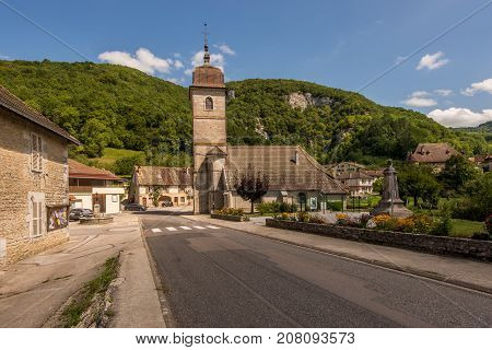 The small picturesque village of Nans-sous-Sainte-Anne in France