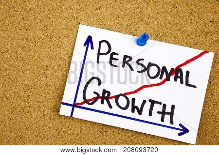 A Yellow Sticky Note Writing, Caption, Inscription Personal Growth - Handwriting In A Black Ink On C