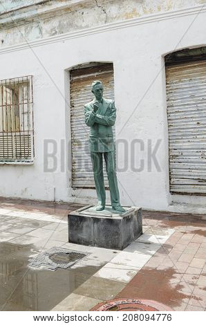 VERACRUZ, MEXICO- SEPTEMBER 27, 2017: Agustín Lara statue at Barrio de la Huaca in Veracruz, Mexico. Agustín Lara was a famous mexican singer and composer
